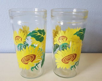 Vintage Anchor Hocking Sunflower tumblers