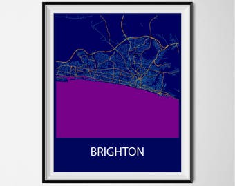 Brighton Map Poster Print - Night