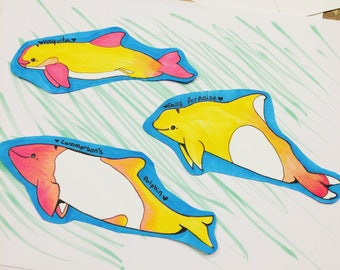 colorful dolphin and porpoise badges