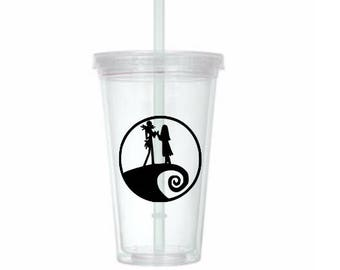 Jack Skellington Sally Nightmare Before Christmas Horror Tumbler Cup Gift Home Decor Gift for Her Him Any Color Personalized Custom