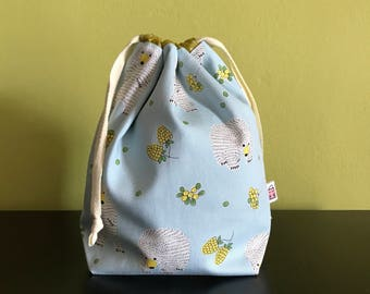 "Handmade Drawstring bag / pouch for knitting accessories 8.75"" x 5"" x 3.5""  *Polar Bears mini*"