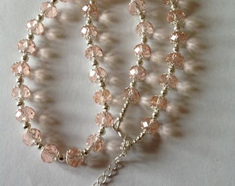 Pink crystal glass beaded necklace crystal necklace pink necklace beaded necklace fashion necklace handmade necklace