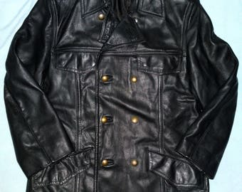 HACKEL & CO. - Vintage 80's West Germany Police Leather Jacket/Coat