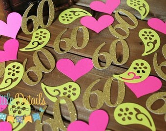 60th Birthday Table Confetti, Number Confetti, Birthday Party