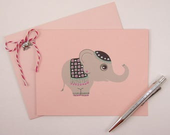 Baby Elephant  Note Card Set - Set of 4 Hand Painted Note Cards with Envelopes