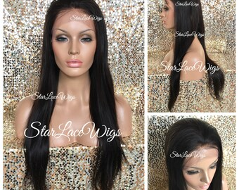 100% Human Virgin Hair - Lace Front Wig - Unprocessed - Straight - Natural Brown - Long - Swiss Lace