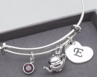3D Teapot charm bracelet with heart initial | teapot bangle | teapot jewellery | personalised teapot gift