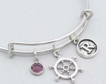 Nautical ship wheel bracelet vintage style initial | sailing bracelet | personalised sailing jewelry | ship wheel jewelry | sailing gift