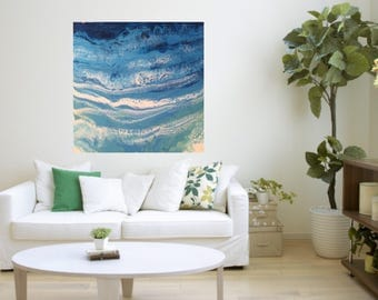 The Shore line - Calm sea - Resin on Crafked panel board (canvas)
