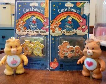 Vintage 1983 Care Bear Lot of 4, NIB 1983 Friend Bear pin and ring, NIB 1983 Sunshine Bear necklace & ring, Birthday Bear, Tenderheart Bear