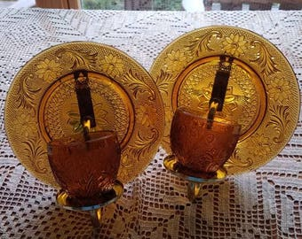 Vintage Amber Glass  Candle Holders / Vintage Sconces / Midcentury Modern / Cottage