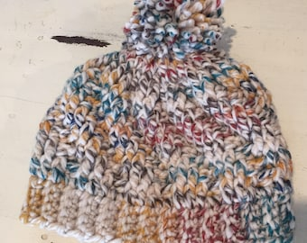Multi colored full hat with pom