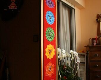 Yoga tapestry hand painted batik yoga decor wall hanging