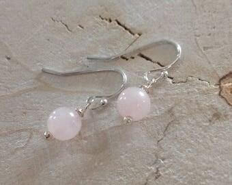 925 Sterling Silver Rose Quartz Earrings
