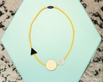 Handmade Geometric Shapes Acrylic + Birch Plywood Necklace - Yellow