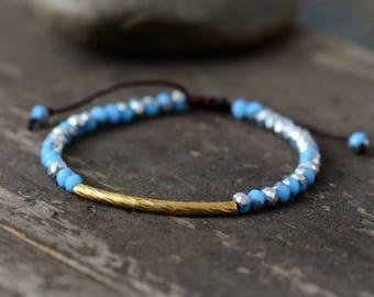 Aquamarine stacking Beaded Friendship Bracelet, Gold tube