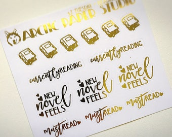 Reading  - Functional Icons - FOILED Sampler Event Icons Planner Stickers