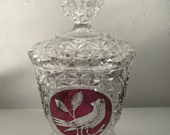 Mid century german hofbauer lead crystal lidded candy dish christmas cranberry red bird