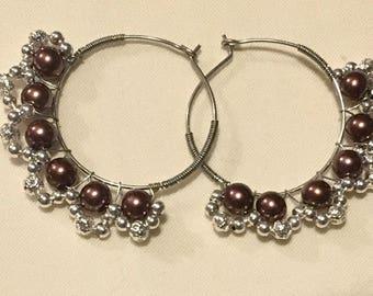 Brown Silver Beads Wire Wrapped Hoop Earrings
