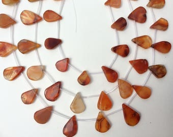 """Red and Milky Agate, Flat tear drop, 10-15x15-25mm, 14"""" strand(14 beads), 1mm hole, one strand"""
