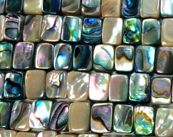 "Abalone Shell Beads, Mini-Rectangle, 5x6mm, 15"" strand (approx 75pcs), Drilled hole 1mm, double drilled OR single drilled, one strand"
