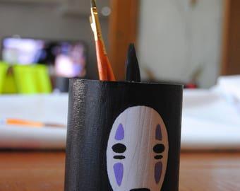 No Face-no face-Spirited Away-spirited away-Chihiro-Studio Ghibli-hand-coloured wood jar pen holder