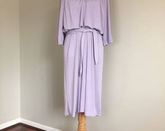70's Light Purple/Metallic Blouson Dress