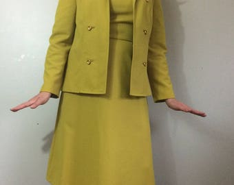 1970's Polyester Dress Suit Unique Banana Peel Green A line Nardis of Dallas