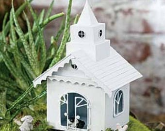Fairy Garden Miniature Dollhouse Diorama White Metal Chapel Church