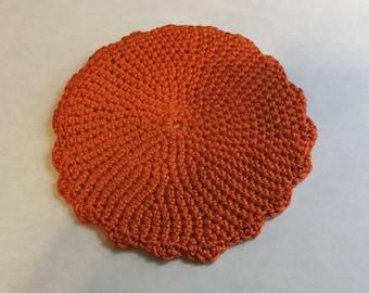 Dollhouse Miniature Round Orange Rug