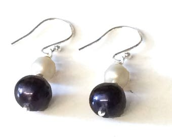 AAA Grade Purple/Black and White Freshwater Pearl Earrings