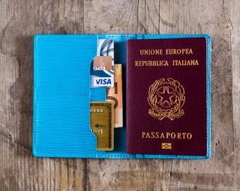 Personalized Turquois Leather Passport Wallet Leather Personalized Passport Holder Luxury Gift for Men Passport Cover Travel Document Wallet