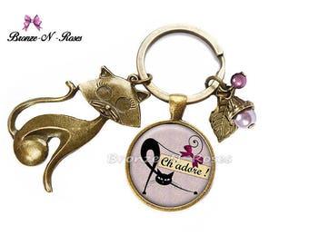 Porte clés * Ch' adore * bijou fantaisie chat noir violet et mauve verre