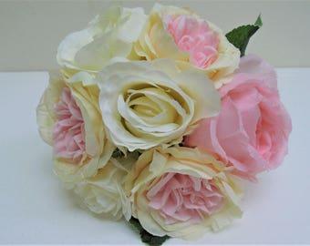 "CREAM PINK Rose Peony Bundle 7 Artificial Silk Flowers 10"" Bouquet 8216CRPK"