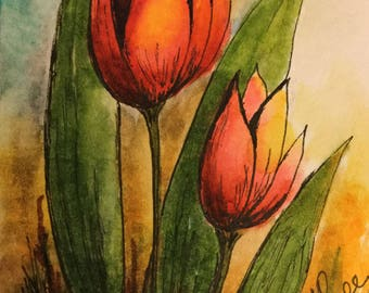 Tulips/Tulips watercolor/Tulips painting/Pocket card/Miniature Art/Orange tulips/Watercolor and ink/Watercolor tulips/Ink drawing