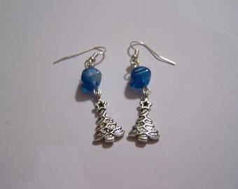 tree silver BO41 blue beads