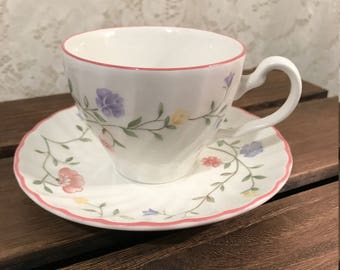 Johnson Brothers Tea Cup And Saucer Set In Summer Chintz - Pink Purple Yello Floral - Pink Trim - Made In England