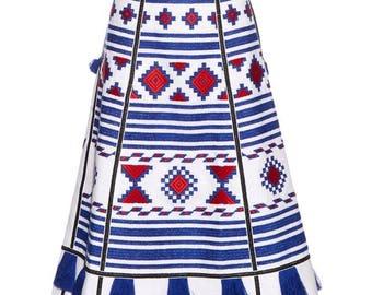 FREE Shipping! WOW Midi Linen bohemian embroidered skirt - Vyshyvanka Ukrainian skirt Mexican style - Ethnic embroidery Ukrainian clothing
