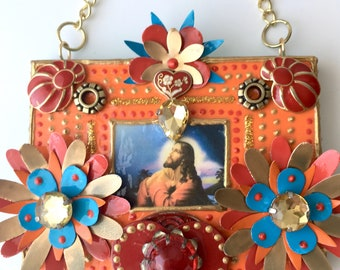 Seek/Unique wall hanging , Religious crafts, Spiritual decor, Montana artist, Handmade, Contemporary, Upcycled items, Mixed media, Faith