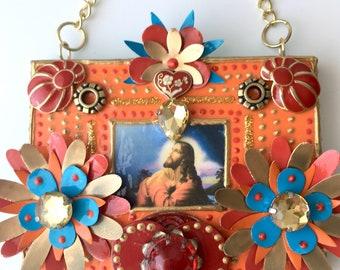 Seek/Unique wall hanging , Religious crafts, Spiritual decor, Montana artist, Handmade, Contemporary, Upcycled items, Mixed media, Faith