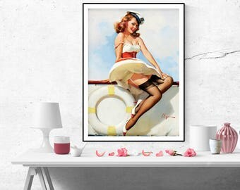 Gil Elvgren Pin up GirlVintage Art Poster Print Canvas print Wall Art Painting Home Decor Pin Up poster print size A2/A3/A4