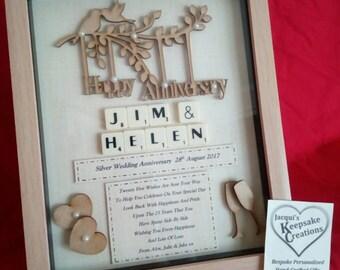 WEDDING ANNIVERSARY personalised keepsake gift box frame wooden