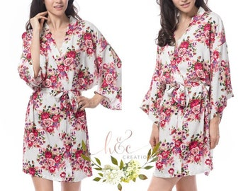 Sale! Cotton Floral Robes, Floral Robes, Gifts for Her, Mix and Match, Personalized Robe, Monogrammed Robe, Getting Ready Robes