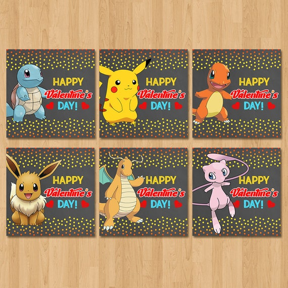 Pokemon Valentine's Day Cards - Chalkboard Red, Yellow, Blue - Pokemon Boy Valentine's Day - Pokemon School Valentine's Cards - Printables