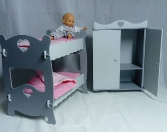 Bunk bed doll with her cupboard