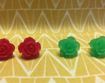 Green and Pink Rose Stud Earring Set