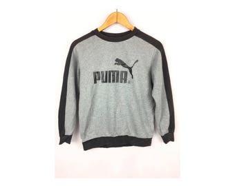 PUMA Kids Unisex Sweatshirt Long Sleeve Size 140 With Big Spell Out Logo Sportwear