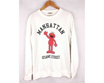 SESAME STREET Elmo Cartoon Big Logo Manhattan Big Logo Spell Out Medium Size Sweatshirt