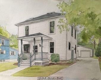 Custom House Painting-Watercolor House Painting-Original House Portrait