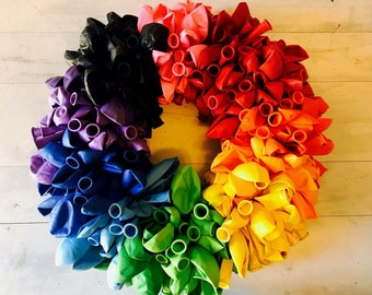 Rainbow Balloon Wreath